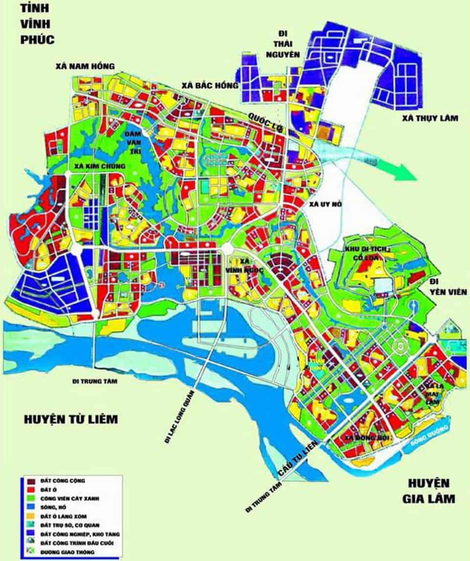 Bản đồ quy hoạch huyện Đông Anh